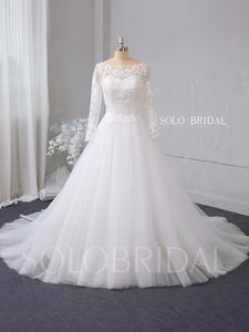 White A line boat neckline long sleeve wedding dress 724A2679