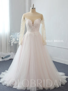 Light pink A line off shoulder long sleeves tulle wedding dress 724A2679