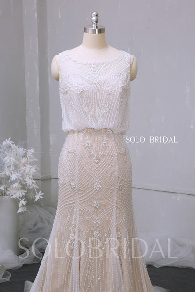 Champagne fit and flare heavy beading lines light wedding dress 724A9588