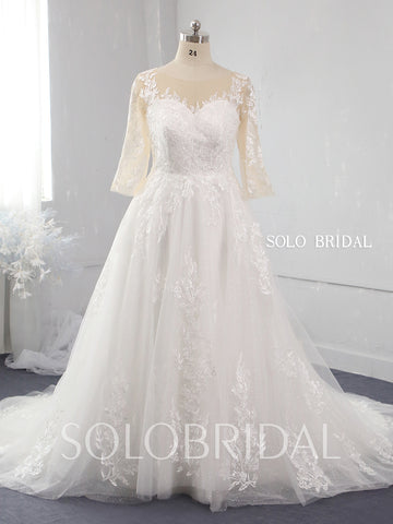 A line plus size shiny lace wedding dress 724A9889