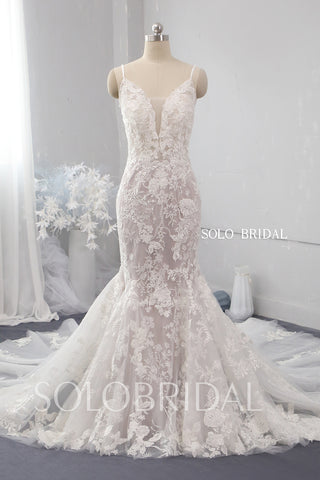 Mermaid deep bustline spaghetti straps lace wedding dress 724A9916