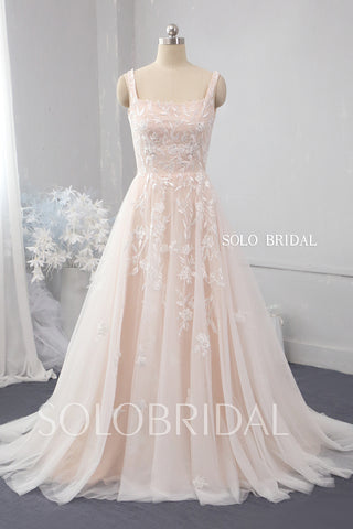 Blush pink A line tulle wedding dress 724A9959