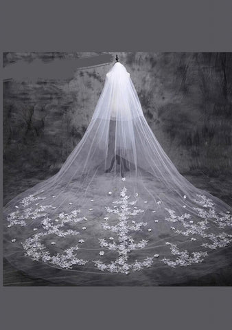 Cathedral Wedding Veil with Lace Appliques