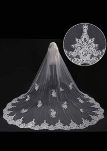 Cathedral Blusher Wedding Veil Embroidered Lace Edge