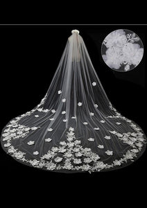 1 Tier Cathedral Sequins Lace Wedding Veil