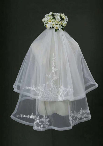Finger Tip Length Veil Two Tiers Veils