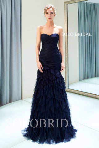 Royal Blue Pleated Tulle Ruffle Prom Dress with Sweep Train