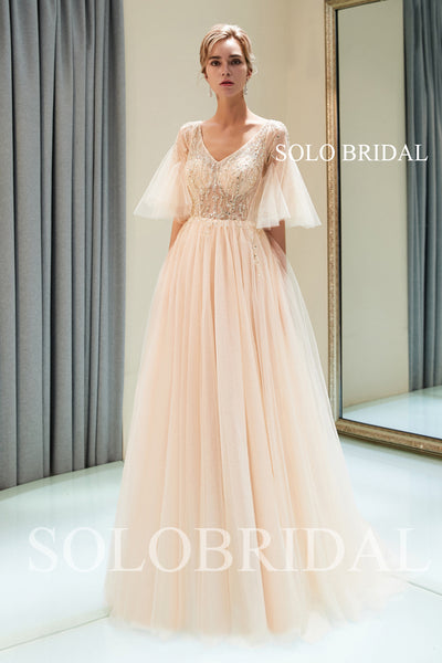 Tulle Split Beaded Prom Dress with Court Train