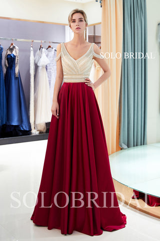 Champagne Red Satin Beaded Prom Dress with Sweep Train