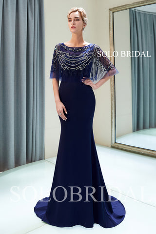 Blue Heavily Beaded Lace Wrap Crepe Prom Dress with Court Train