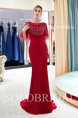 Red Heavily Beaded Lace Wrap Crepe Prom Dress with Court Train