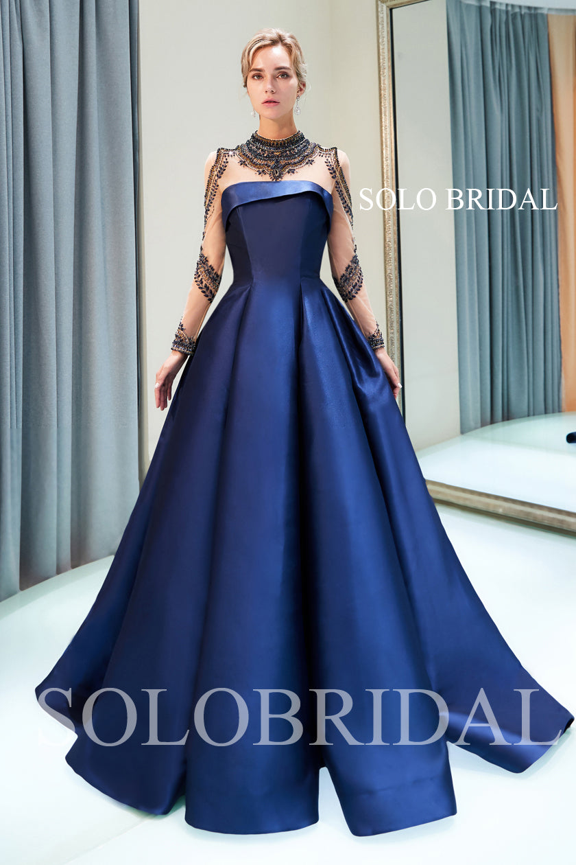 Blue Satin Beaded Top Prom Dress with Court Train