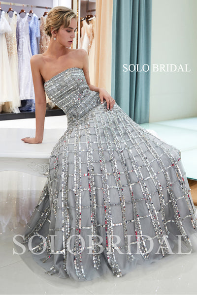 Grey Shiny Square Lace Prom Dress