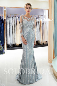 Grey Luxury Beaded Prom Dress with Court Train