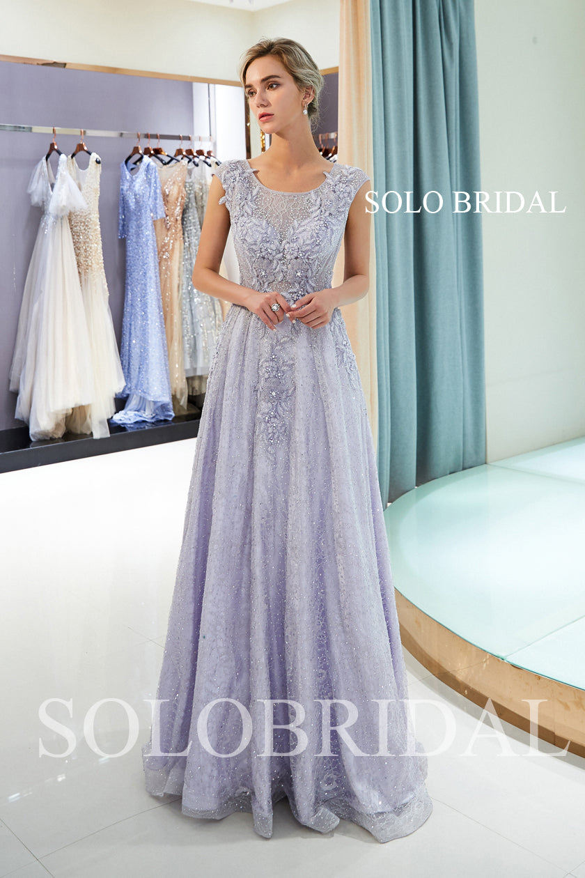 Lavender Shiny Prom Dress with Diamonds