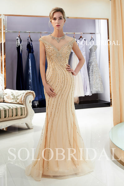 Champagne Shiny Fit and Flare Prom Dress with Sweep Train