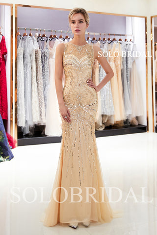 Champagne Shiny Sheath Prom Dress with Sweep Train