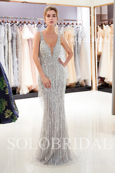 Grey Feather Sheath Shiny Prom Dress with Sweep Train