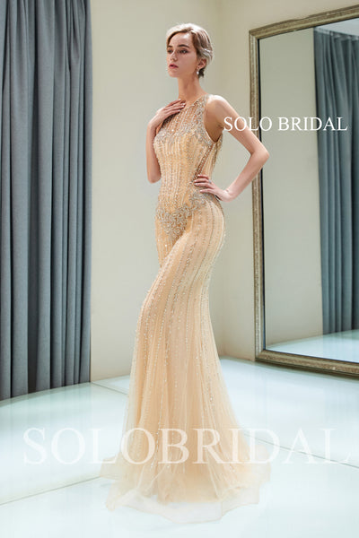 Champagne Sheath Beaded Prom Dress with Sweep Train