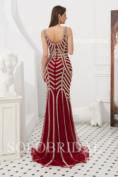Wine Red Shiny Tulle Fitted Prom Dress