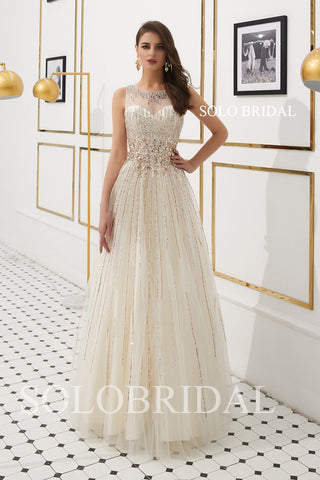 Light Champagne Gold Beading Lines Prom Dress