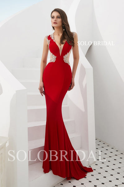 Red Fitted Crepe Prom Dress