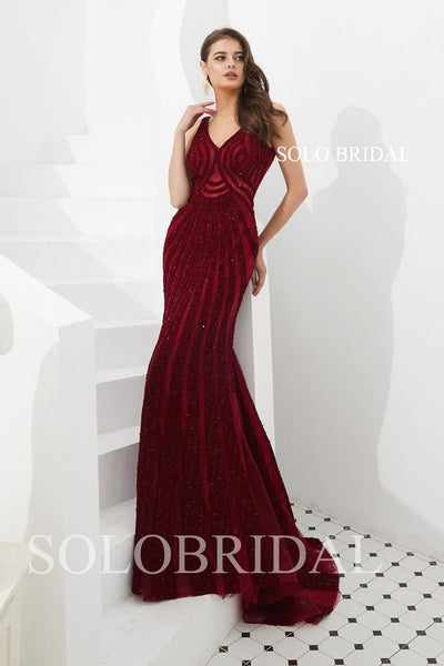 Wine Red Fit and Flare Prom Dress