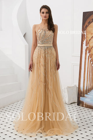A Line Champagne Tulle Prom Dress