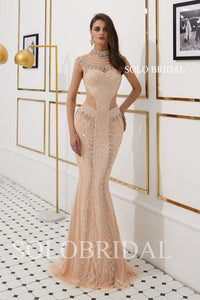 Blush Pink Sheath Fully Beaded Prom Dress