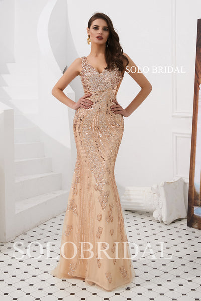 Rose Gold Fit and Flare Beading Prom Dress