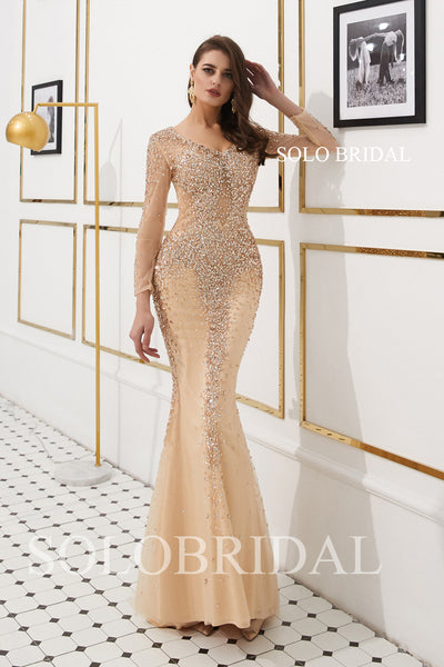 Champagne Diamond Fit and Flare Prom Dress