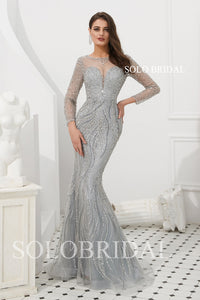 Grey/Gold Fit and Flare Beaded Prom Dress