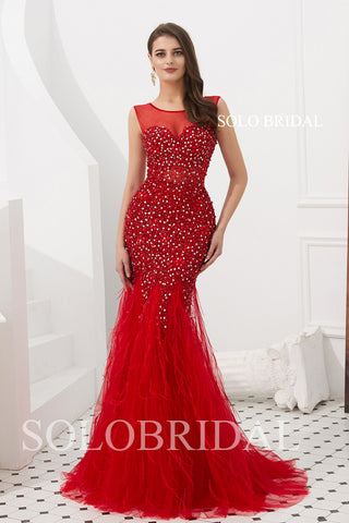 Red Fit and Flare Feather Prom Dress