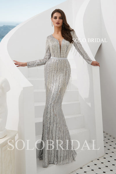 Silver Sequin Feather Fit and Flare Prom Dress