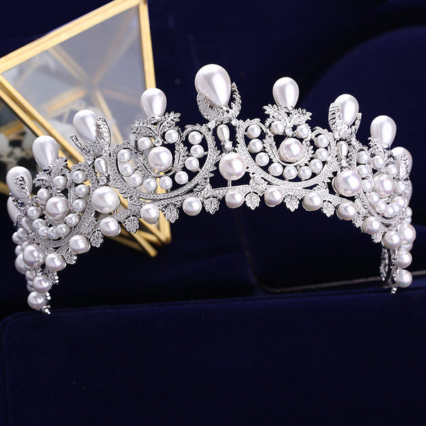Luxury Cubic Zirconia Bridal Tiara With Pearls
