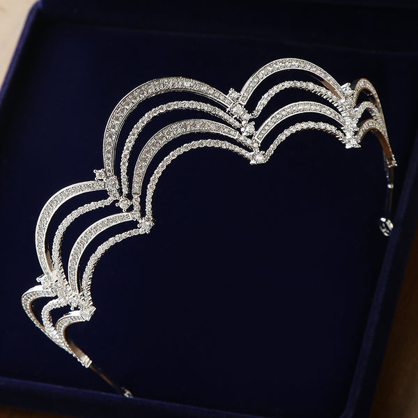 Luxury Cubic Zirconia Scalloped Bridal Tiara