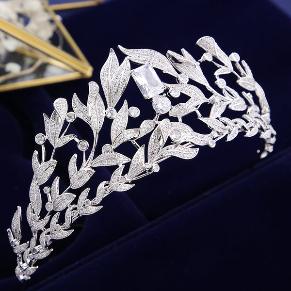 Luxury Tall Cubic Zirconia Crystal Bridal Tiara with Silver Leaves