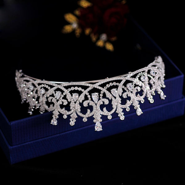 Luxury Princess Regal Heart Wedding Tiara