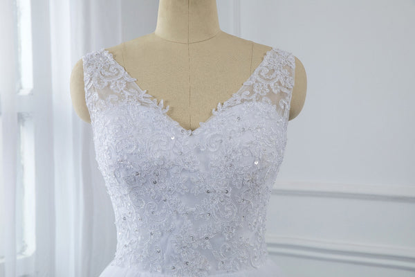 Tea Length Wedding Dress with Lace Straps