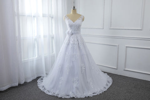 A Line Sequined Wedding Dress with Tulle flower Belt