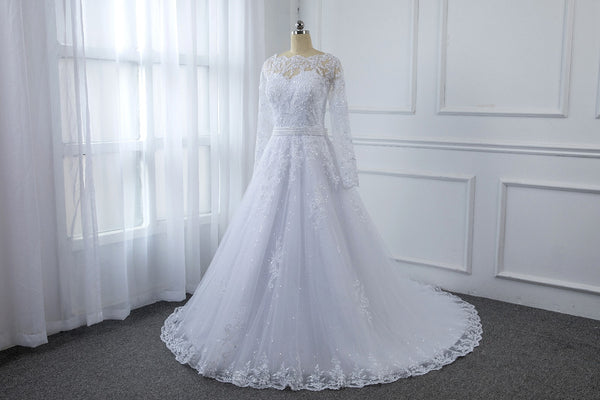 White Long Sleeve Lace Wedding Dress with Hem Lace Skirt and Sequin Tulle