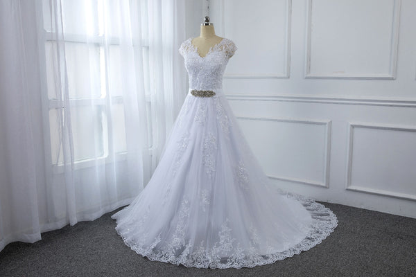 A Line Wedding Dress with a Sweetheart Neckline