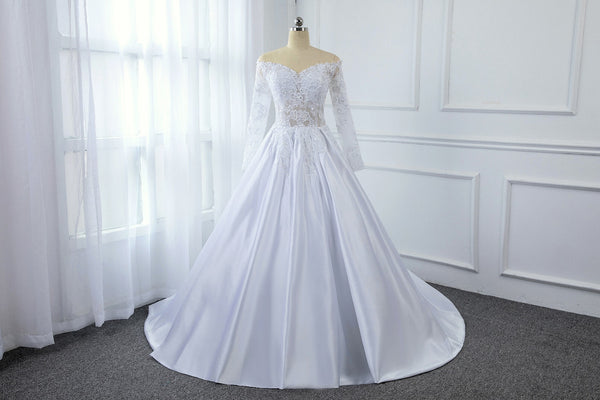 A Line Satin Transparent Lace Bodice with Long Sleeve Off Shoulder Wedding Dress