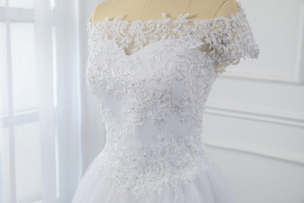 Small A Line Tulle Wedding Dress
