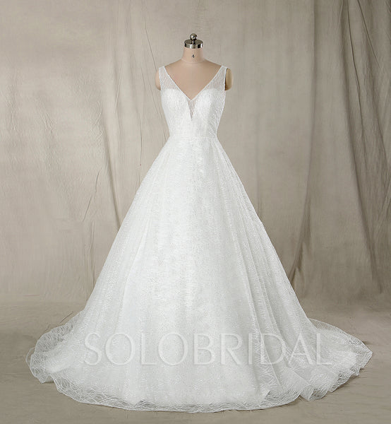 A Line Wedding Dress with Sparkle Tulle
