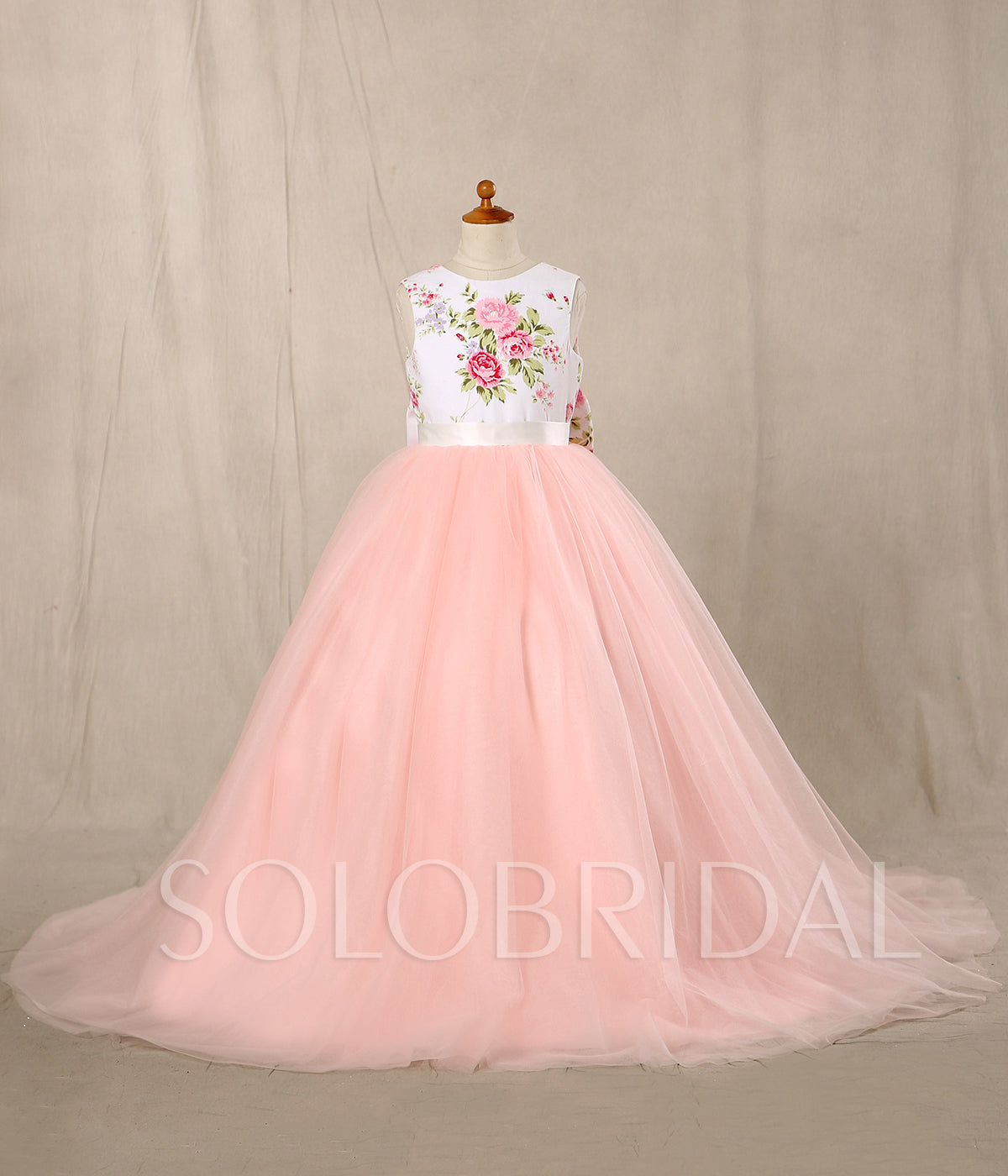A Line Flower Girl Dress - Satin/Tulle Sleeveless With Flower and Bow at the Back