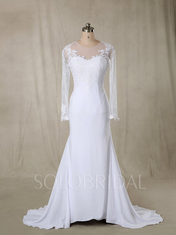 White Silk Chiffon Wedding Dress with Sleeves