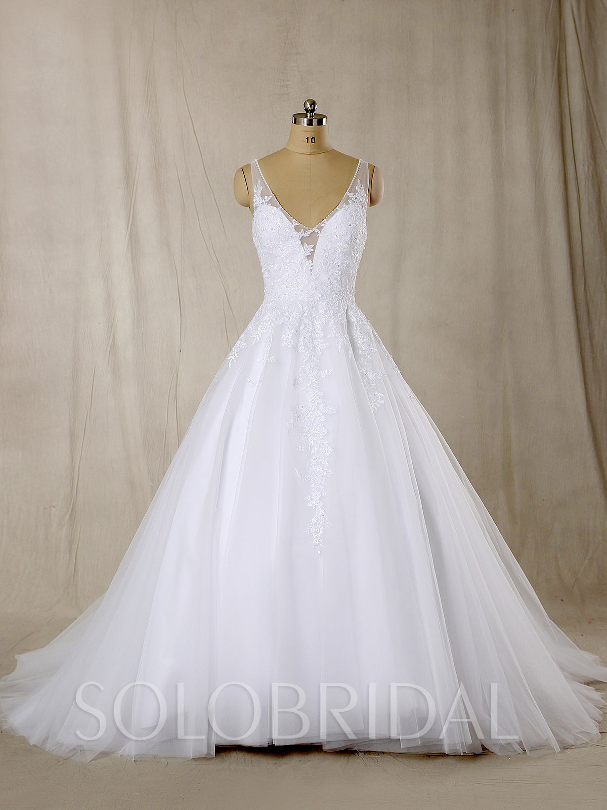 A Line Sleeveless Wedding Dress