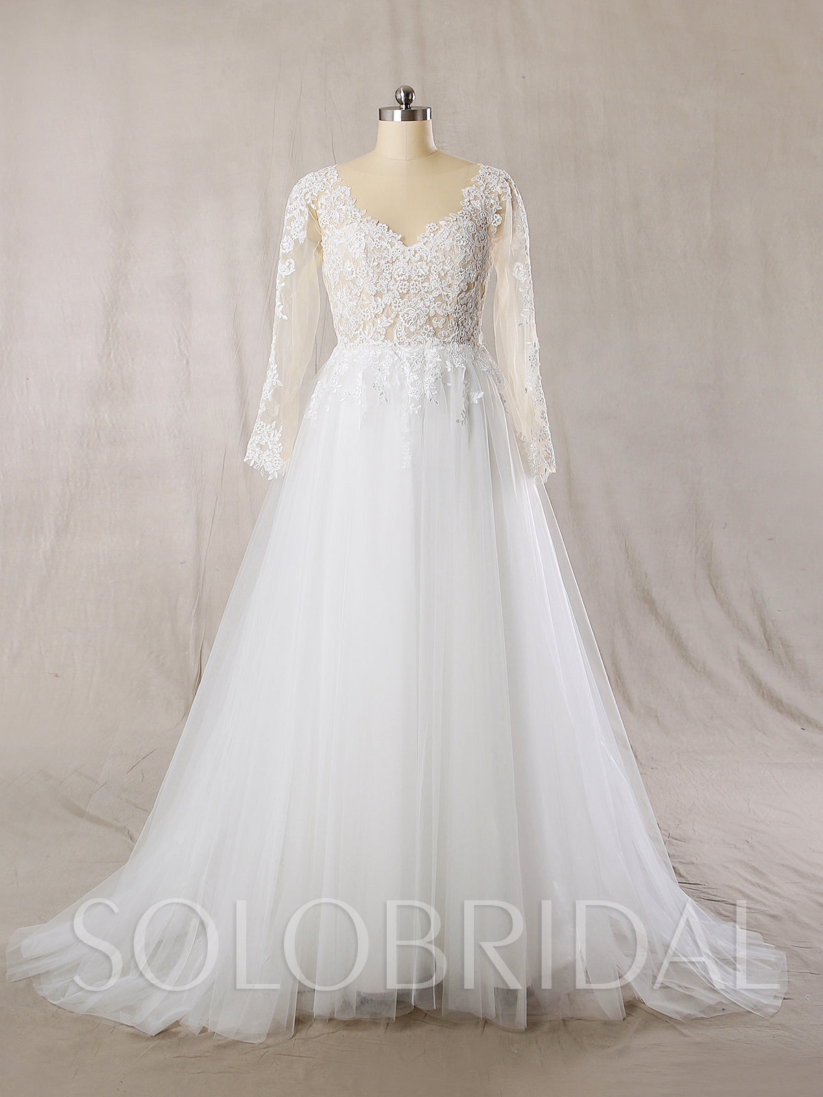 A Line Wedding Dress with See Through Tulle Top