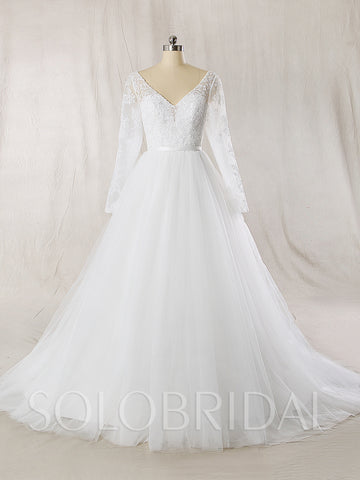A Line Tulle Wedding Dress with Deep V neckline